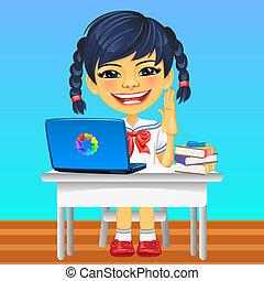 女生徒, 微笑, ベクトル, アジア人, 幸せ