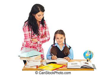 女生徒, 教室, 教師