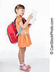 女生徒, 読書, 教科書