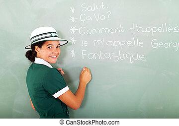 女生徒, 黒板, フランス語, 執筆