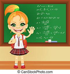 女生徒, 黒板, 微笑, ベクトル