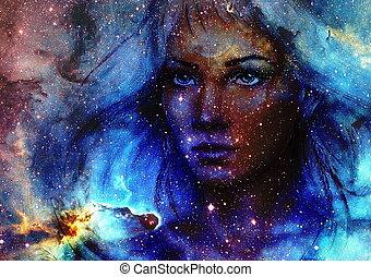 女神, スペース, 絵, 背景, 美しい, stars., 女, 色