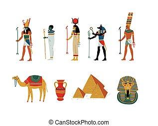 女神, 古代エジプト, 神, イラスト, シンボル, セット, 文化, ベクトル