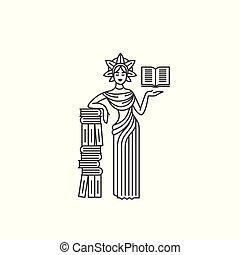 女神, 概念, book., ベクトル, 黒, イラスト, 背景, 白