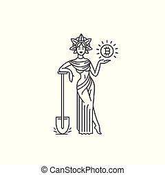 女神, 概念, shovel., 鉱山, イラスト, ベクトル, 黒い背景, 白