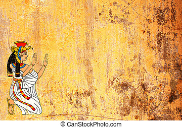 女神, isis, エジプト人, 手ざわり, 背景, グランジ, 古い, 化粧しっくい