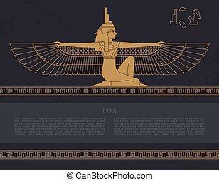 女神, isis, テンプレート, エジプト人, 隔離された, hand-drawn, ベクトル, デザイン, 背景, 受精能力