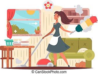 女管家, 女孩, 公寓, 清扫