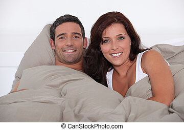 女, あること, ベッド, 人