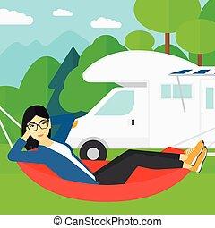 女, あること, 中に, hammock.