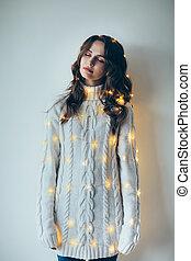 女, お祝い, lights., 夢を見ること, 包まれた, 肖像画, クリスマス