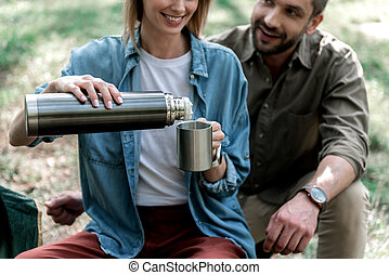 女, お茶, 森林, 幸せ, 暖まること, 人