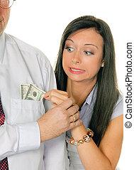 女, お金, 引き, ドル, 人, tasche., から