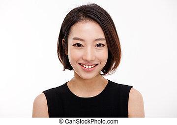 女, かなり, ビジネス, の上, 若い, 肖像画, 終わり, アジア人