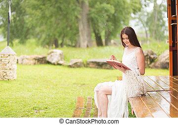 女, かなり, 台地, 読まれた, book., 女の子, 服, 白, 座る