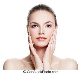 女, きれいにしなさい, 彼女, face., 美しさ, 美容術, 手, 感動的である, 待遇, 美顔術, 皮膚, エステ