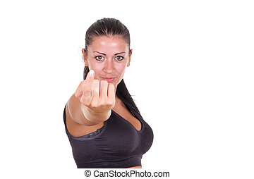 女, ここに, 呼出し, 指, セクシー, あなた, 来なさい, ジェスチャーで表現する