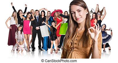 女, そして, 大きいグループ, の, 幸せ, 人々