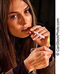 女, たばこを吸う, cigarette.