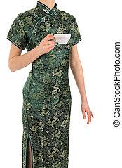 女, ∥で∥, お茶のカップ