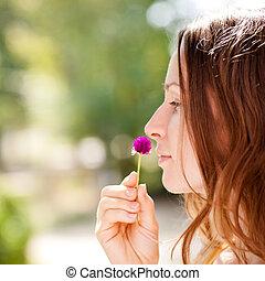 女, ∥で∥, 春の花