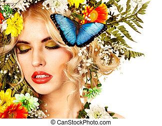 女, ∥で∥, 蝶, そして, flower.