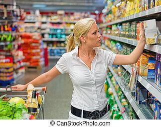 女, ∥で∥, 買い物カート, 中に, ∥, スーパーマーケット