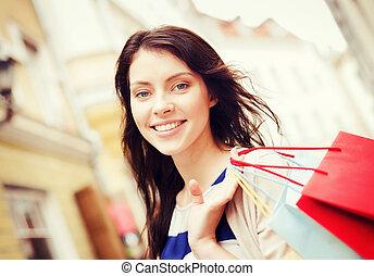 女, ∥で∥, 買い物袋, 中に, 都市
