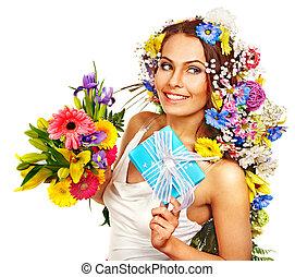 女, ∥で∥, 贈り物の箱, そして, 花の 花束, .
