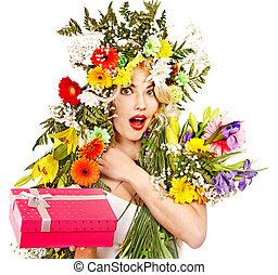 女, ∥で∥, 贈り物の箱, そして, flower.