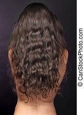 女, ∥で∥, 長い間, 巻き毛, 毛, 背中, ブルネット