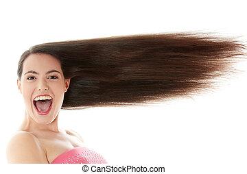 女, ∥で∥, 長い間, 毛