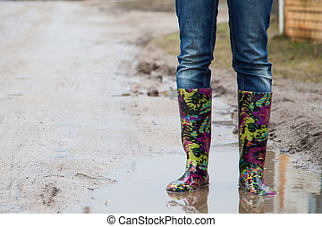 女, ∥で∥, 雨ブーツ, ジャンプする