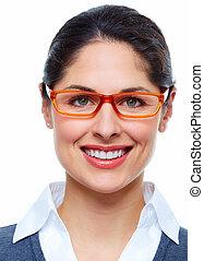 女, ∥で∥, eyeglasses.