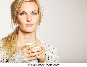 女, ∥で∥, unkept, 毛, 保有物, a, コーヒーのカップ