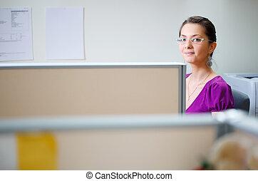 女, ∥において∥, オフィス, 中に, ふだん着