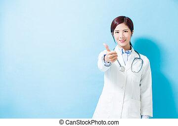 女, の上, 医者, 親指