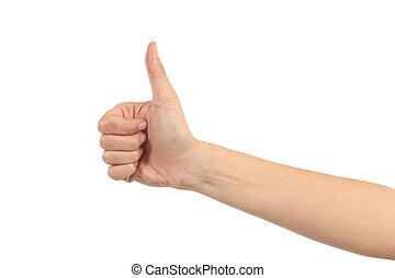 女, の上, 手, 親指