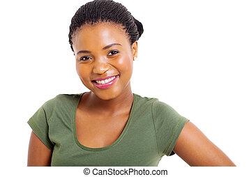 女, の上, 若い, アメリカ人, アフリカ, 終わり, 肖像画