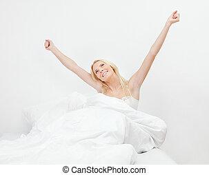 女, の上, 若い, 目覚めること, 幸せに微笑する