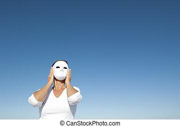 女, の後ろ, マスク, 空, 背景