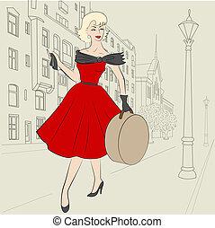 女, の, 50s