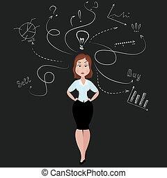 女, よい, 考え, ビジネス