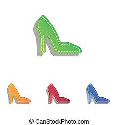 女, アイコン, 印。, colorfull, アップリケ, 靴, set.