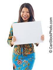 女, アジア人, 保有物, ブランク, 白, カード