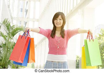女, アジア人, 買い物客