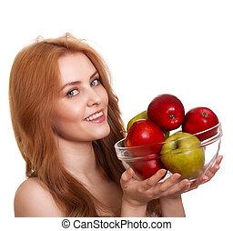 女, アップル, 隔離された, 若い, 微笑, 白, 幸せ