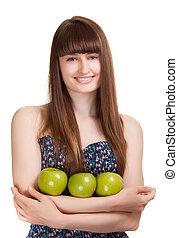 女, アップル, 隔離された, 若い, 緑, 微笑, 白, 幸せ