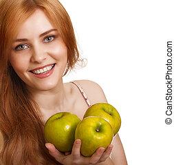女, アップル, 隔離された, 若い, 3, 緑, 微笑, 白, 幸せ