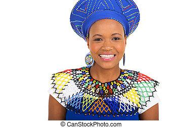 女, アフリカ, 若い, ぐっと近づいて, 肖像画